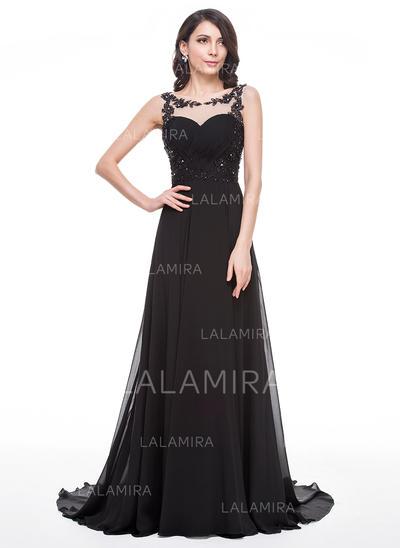 Chiffon Regular Straps Scoop Neck A-Line/Princess Prom Dresses (018056786)