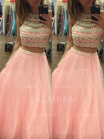 Halter Beading A-Line/Princess Tulle Prom Dresses (018210231)