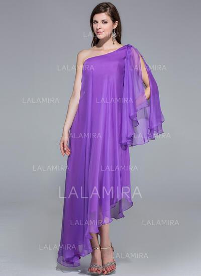 A-Line One-Shoulder Asymmetrical Chiffon Evening Dress (017026204)