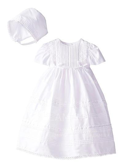 Satén Escote redondo Vestidos de bautizo para bebés con Manga corta (2001217421)