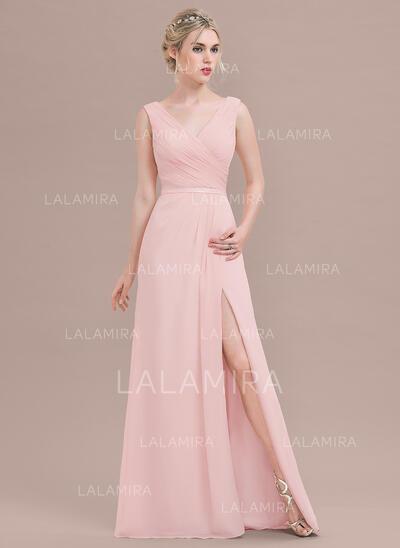 A-Line/Princess V-neck Floor-Length Chiffon Evening Dress With Ruffle Split Front (017124650)