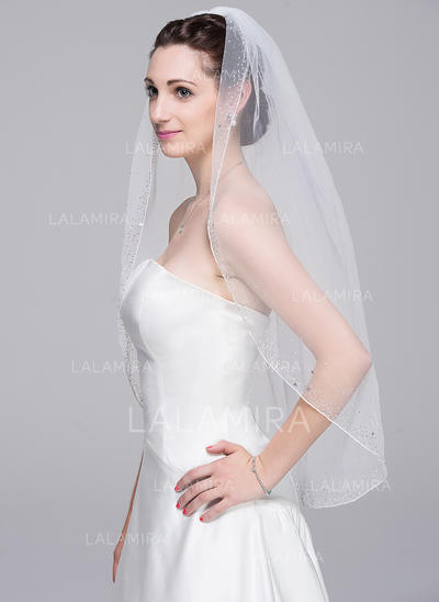 Elbow Bridal Veils Tulle One-tier Classic With Beaded Edge Wedding Veils (006151843)