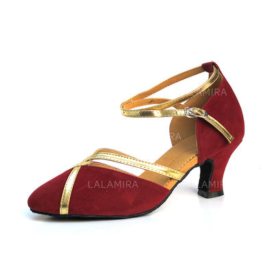 Women's Ballroom Heels Pumps Suede With Ankle Strap Dance Shoes (053180109)