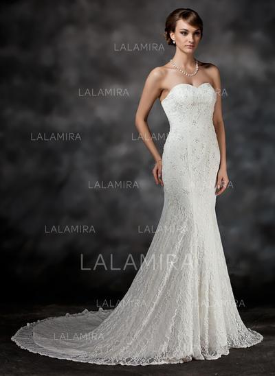 Lace Trumpet/Mermaid Chapel Train Sweetheart Wedding Dresses (002211438)