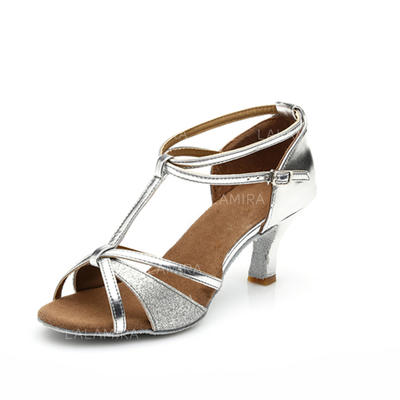 Women's Latin Heels Sandals Leatherette Sparkling Glitter With T-Strap Ankle Strap Dance Shoes (053179199)