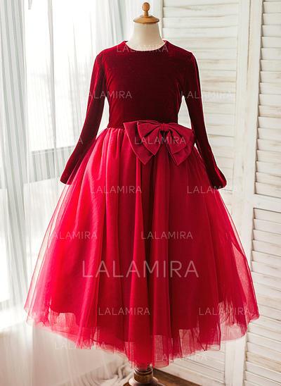 Decote redondo Vestidos princesa/ Formato A Vestidos de daminha Cetim/Tule Curvado Manga comprida Comprimento médio (010212175)