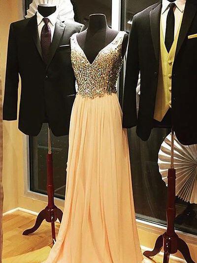 A-Line/Princess Chiffon V-neck Regular Straps Prom Dresses (018210269)
