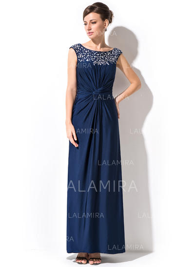 Sheath/Column Jersey Sleeveless Scoop Neck Ankle-Length Zipper Up Mother of the Bride Dresses (008051146)