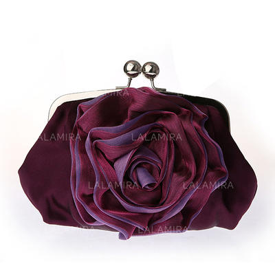 Clutches Ceremony & Party Satin Kiss lock closure Gorgeous Clutches & Evening Bags (012183913)