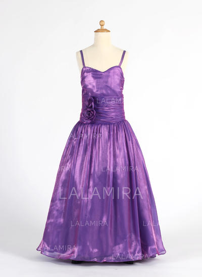 A-Line/Princess Sweetheart Floor-length With Ruffles/Flower(s) Organza Flower Girl Dresses (010014612)