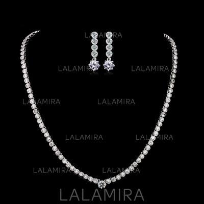 Jewelry Sets Zircon/Platinum Plated Fold-over Clasp Pierced Ladies' Wedding & Party Jewelry (011164662)