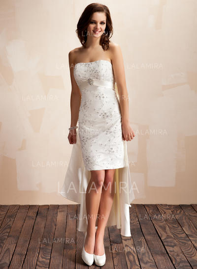 Beading Crystal Brooch Sequins Bow(s) Sleeveless Sweetheart Satin Sheath/Column Wedding Dresses (002210418)
