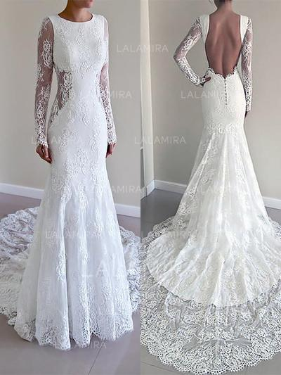 Luxurious Lace Beading Trumpet/Mermaid With Lace Wedding Dresses (002147976)