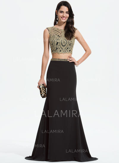 Trumpet/Mermaid Scoop Neck Sweep Train Stretch Crepe Prom Dresses With Lace Beading (018175932)