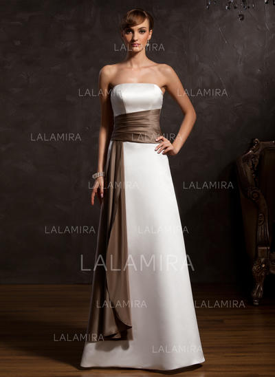 A-Line/Princess Satin Sleeveless Strapless Floor-Length Zipper Up Mother of the Bride Dresses (008213131)