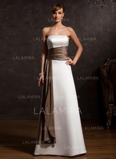 Forme Princesse Satiné Sans manches Sans bretelle Longueur ras du sol Fermeture éclair Robes mère de la mariée (008213131)