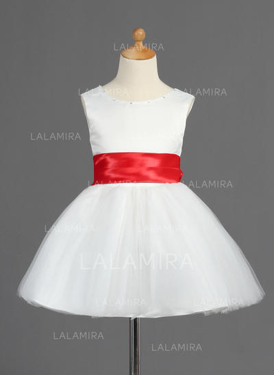 Princess A-Line/Princess Sash/Bow(s) Sleeveless Satin/Tulle Flower Girl Dresses (010014598)