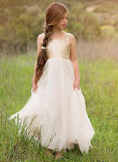 Fashion Scoop Neck A-Line/Princess Flower Girl Dresses Floor-length Tulle/Sequined Sleeveless (010210944)