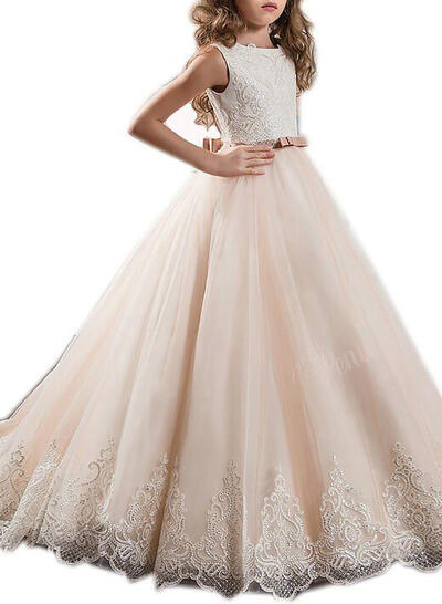 Ball Gown Flower Girl Dresses Tulle Sash/Appliques/Bow(s) Sleeveless Sweep Train (010211733)