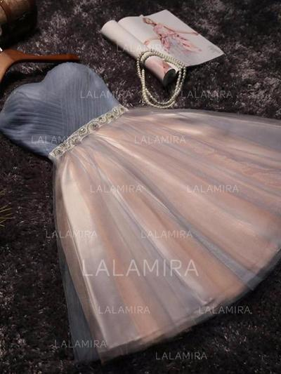 Ruffle Sash Beading Bow(s) A-Line/Princess Short/Mini Tulle Homecoming Dresses (022216262)