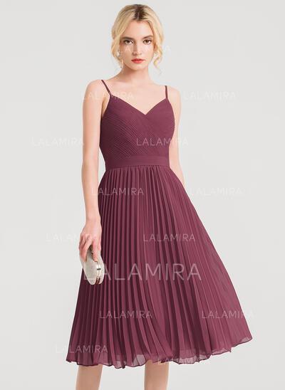 Corte A Decote V Coquetel Tecido de seda Vestido de cocktail com Plissada (016150221)