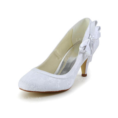 Women's Closed Toe Cone Heel Satin With Bowknot Wedding Shoes (047203493)