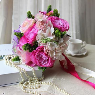 "Bridal Bouquets Round Wedding Satin/Artificial Silk 9.45""(Approx.24cm) Wedding Flowers (123189655)"