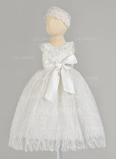 Tulle Col rond Brodé Robes de baptême bébé fille avec Sans manches (2001217398)