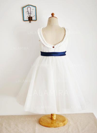 Ball Gown Scoop Neck Tea-length With Sash/V Back Tulle Flower Girl Dresses (010212151)