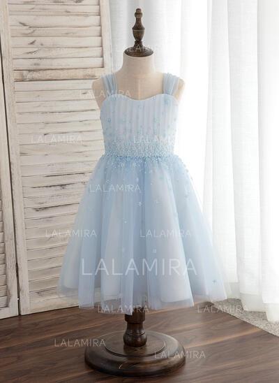 Forme Princesse Longueur genou Robes à Fleurs pour Filles - Tulle Sans manches Bretelles (010148841)