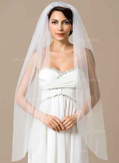 Fingertip Bridal Veils Tulle One-tier Mantilla With Cut Edge Wedding Veils (006151805)