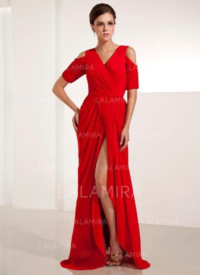 Beautiful Chiffon Sheath/Column Zipper Up Evening Dresses (017014234)