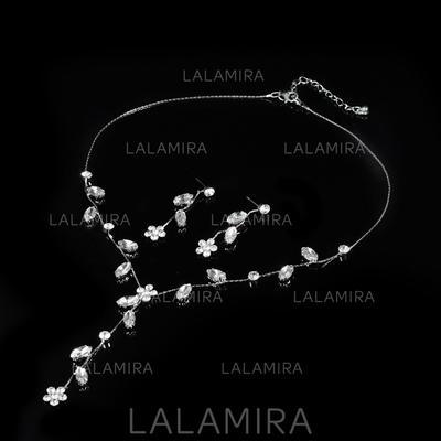 Sistemas de la joyería Aleación/Diamantes de imitación Corchete de la langosta Perforado Señoras' Joyas de boda & fiesta (011107481)