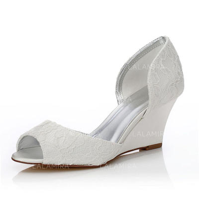 Women's Peep Toe Sandals Dyeable Shoes Wedge Heel Lace Satin Yes Wedding Shoes (047205932)