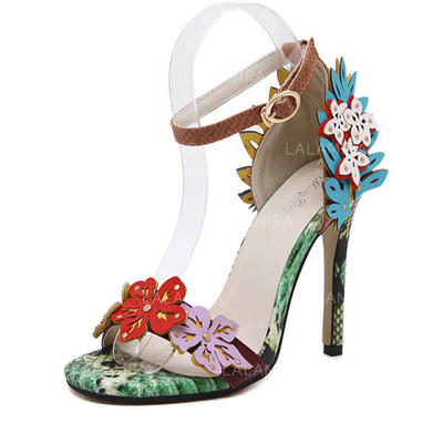 Women's Peep Toe Pumps Sandals Stiletto Heel Leatherette With Flower Wedding Shoes (047207873)