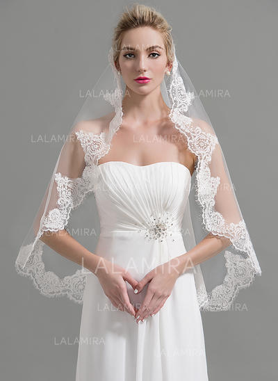 Fingertip Bridal Veils Tulle One-tier Oval With Lace Applique Edge Wedding Veils (006151927)