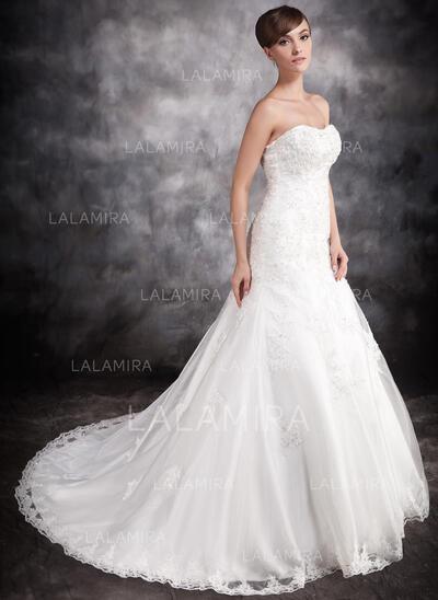 Trompete/Sereia Amada Cauda longa Cetim Organza de Vestido de noiva com Renda Beading Apliques de Renda (002016902)