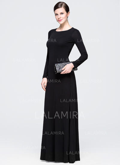 A-Line/Princess Jersey Scoop Neck Long Sleeves Evening Dresses (017201954)