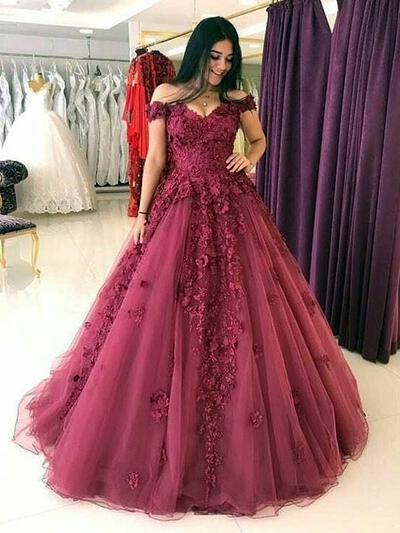 Ball-Gown 2019 New Off-the-Shoulder Tulle Prom Dresses (018217925)