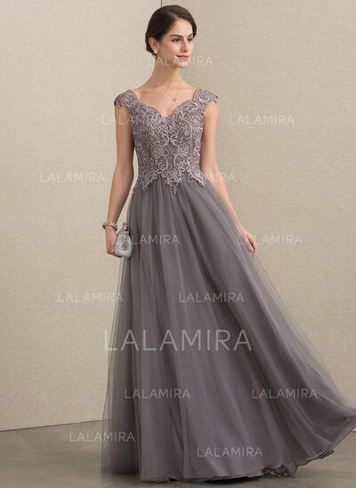 A-Line V-neck Floor-Length Tulle Lace Evening Dress With Sequins (017192589)