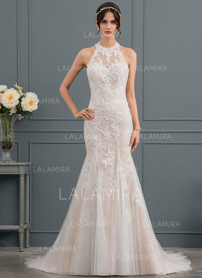 Trumpet/Mermaid Halter Court Train Tulle Lace Wedding Dress With Beading Sequins (002145314)