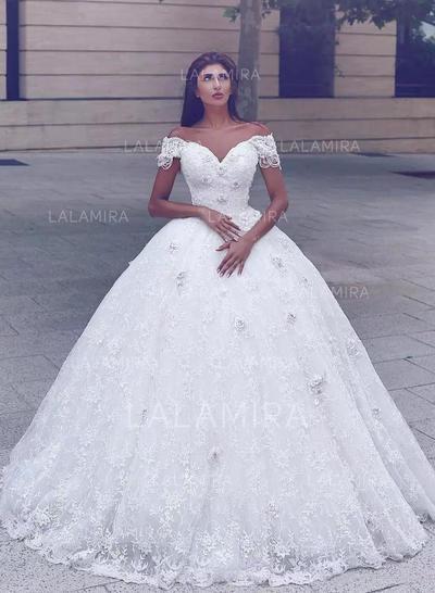 Le plus récent Motifs appliqués Dentelle Robe Marquise avec Dentelle Robes de mariée (002217949)