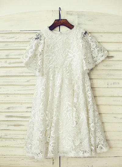 Scoop Neck A-Line/Princess Flower Girl Dresses Lace Lace/Appliques Short Sleeves Knee-length (010211668)