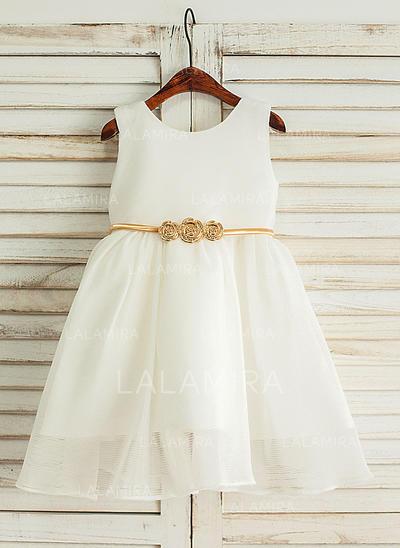 Scoop Neck A-Line/Princess Flower Girl Dresses Satin/Tulle Sleeveless Knee-length (010212170)