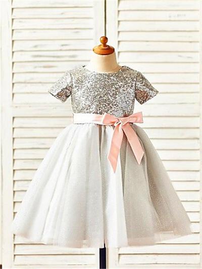 Scoop Neck A-Line/Princess Flower Girl Dresses Tulle/Sequined Sash Short Sleeves Tea-length (010211882)