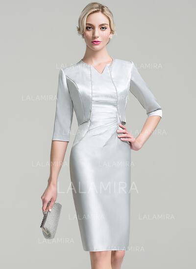 Tubo Decote V Coquetel Cetim Vestido para a mãe da noiva com Pregueado Beading lantejoulas (008091936)