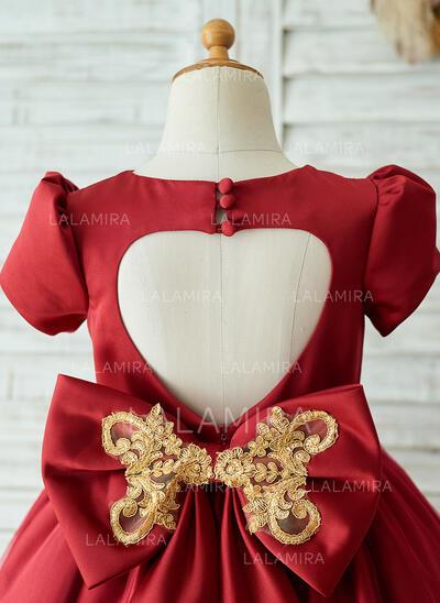 Forme Princesse Longueur genou Robes à Fleurs pour Filles - Satiné/Tulle Manches courtes Col rond avec À ruban(s) (010153232)