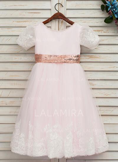 Forme Princesse Longueur genou Robes à Fleurs pour Filles - Satiné/Tulle/Dentelle/Pailleté Manches courtes Col rond avec À ruban(s) (bande détachable) (010146250)
