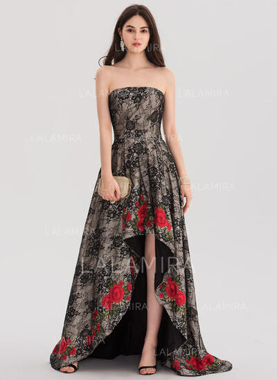 Ball-Gown Strapless Asymmetrical Sweep Train Lace Prom Dresses With Lace (018138376)