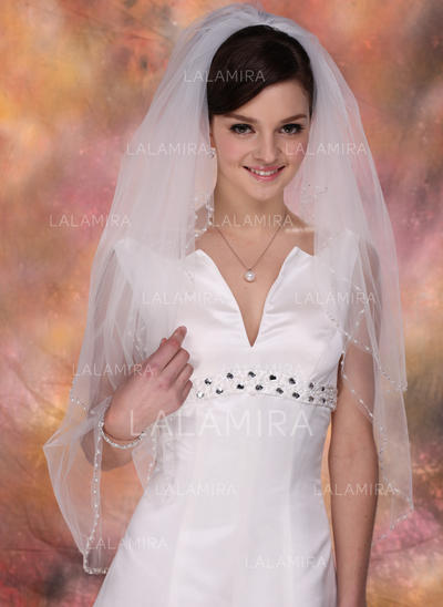 Fingertip Bridal Veils Tulle Two-tier Classic With Pearl Trim Edge Wedding Veils (006150935)